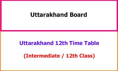 Uttarakhand 12th Time Table