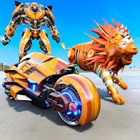 Lion Robot Transform Bike War : Moto Robot Games for Android