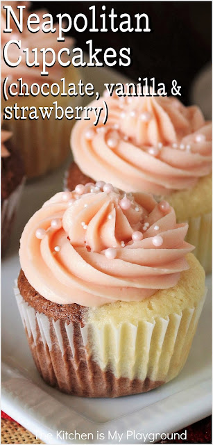 Neapolitan Cupcakes ~ Beautiful, tender 1/2-chocolate & 1/2-vanilla two-tone cupcakes, topped with fluffy strawberry frosting.  It's the classic Neapolitan flavor trio in one tasty little cake! They're perfectly delicious, and simply perfect for any birthday.  www.thekitchenismyplayground.com