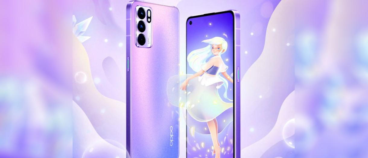 """Oppo announces """"Reno6 5G"""" in purple color The GSM Arena website revealed OPPO's intention to provide a new version of the Oppo Reno6 5G phone in purple, after the phone had been available in black, blue and gray since it was announced last May."""