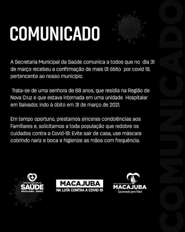 COMUNICADO | Secretaria da Saúde registra óbito por Covid-19 em Macajuba