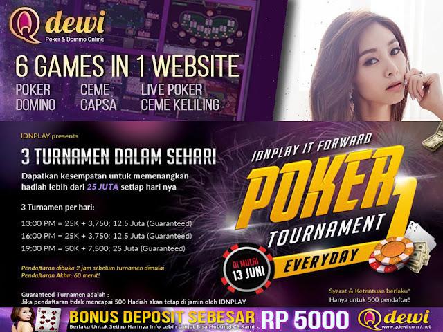 Turnamen Poker Online Indonesia QDewi.net Dengan Total Hadiah Puluhan Juta Setiap Harinya - www.AgenJudiOnlineQDewi.net