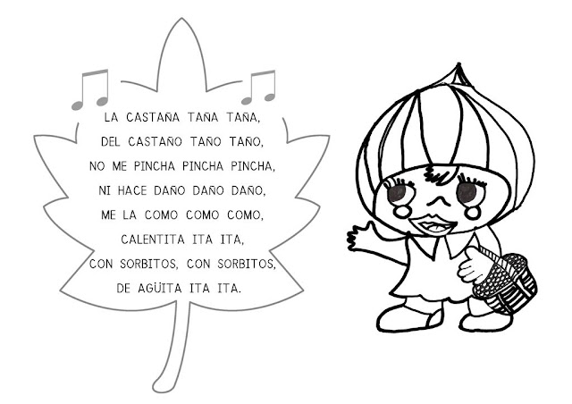Dibujos Colorear Otono Infantil: Maestra De Infantil: La Castañera De Otoño. Educación