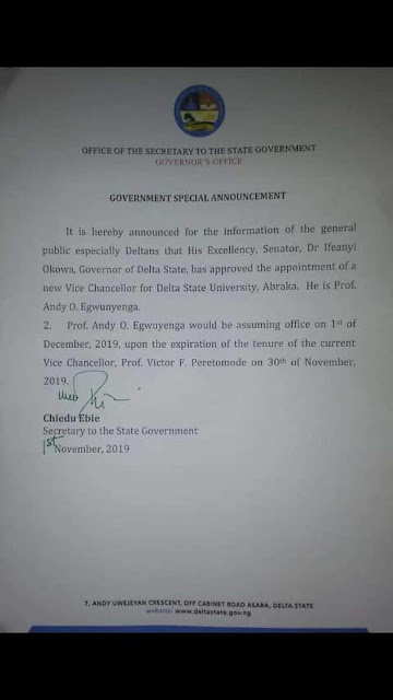 DELSU Appoints Prof. Andy O. Egwunyenga New Vice Chancellor