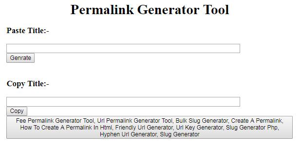 Free Permalink Generator Tool