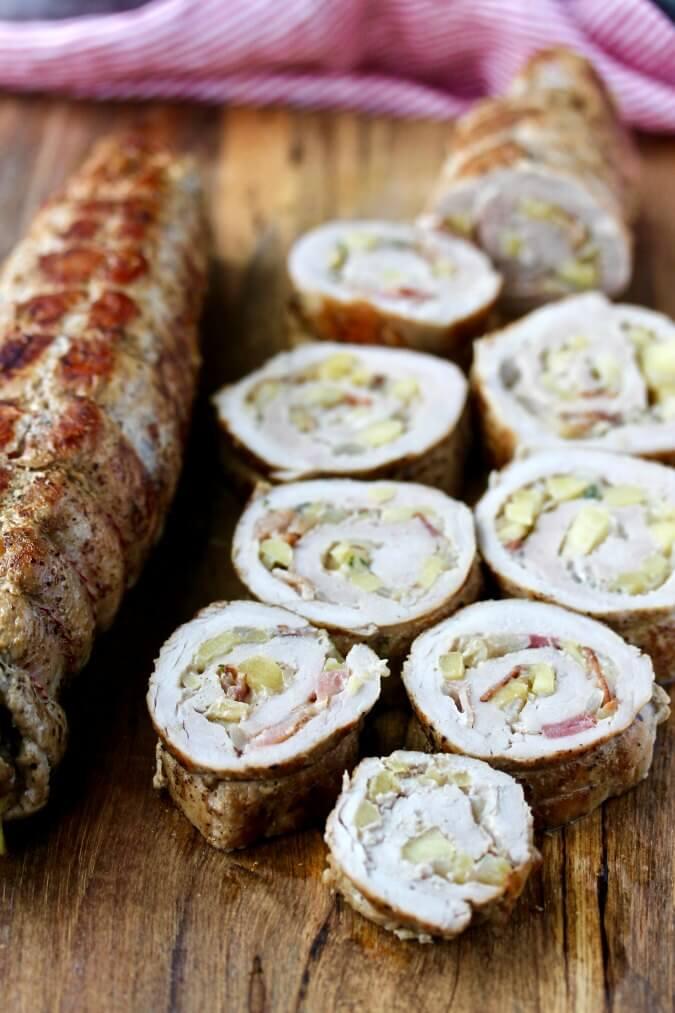 Pork Tenderloin with Bacon, Apple, and Gruyère sliced