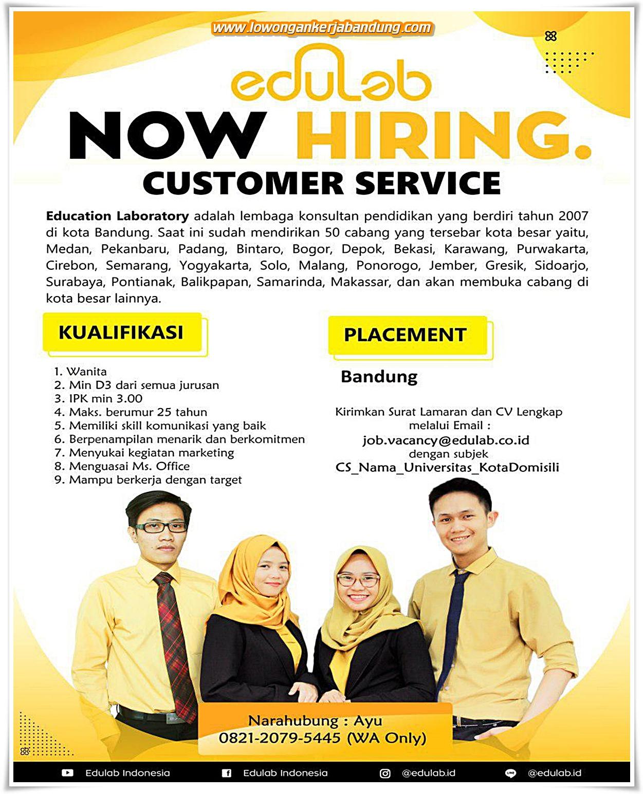 Lowongan Kerja Customer Service Bimbingan Belajar Edulab ...