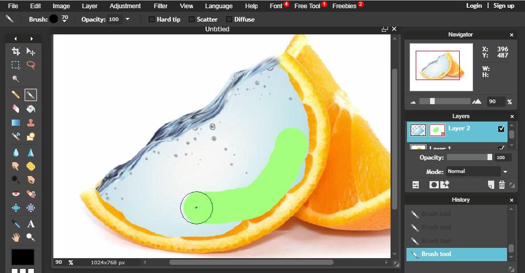 manipulasi foto buah dan air