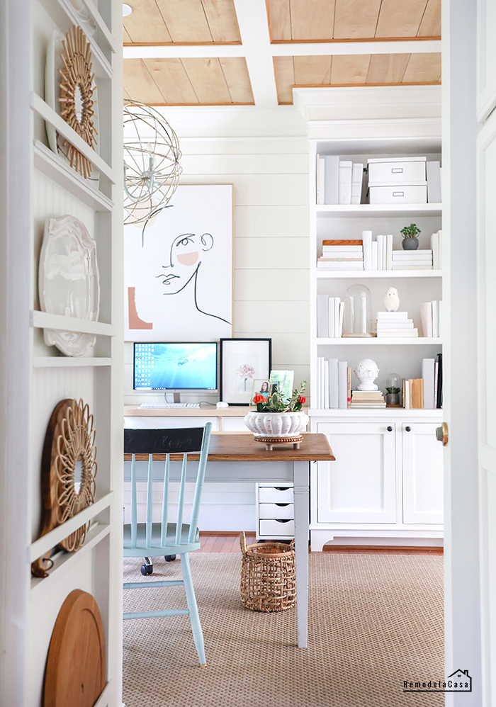 white office with wooden surfaces