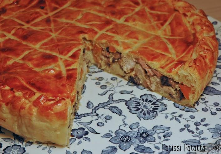 recette de tourte au poulet provençale, french chicken pie, pâte feuilletée, poulet