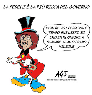 fedeli, redditi ministri, governo, self made, vignetta, satira