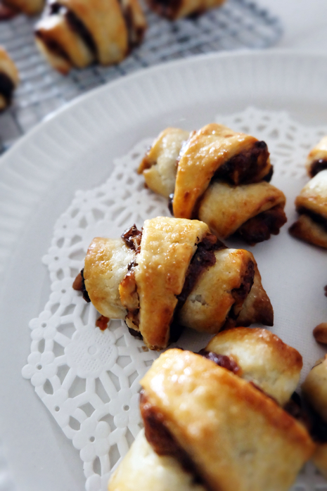 plated apple butter rugelach cookies