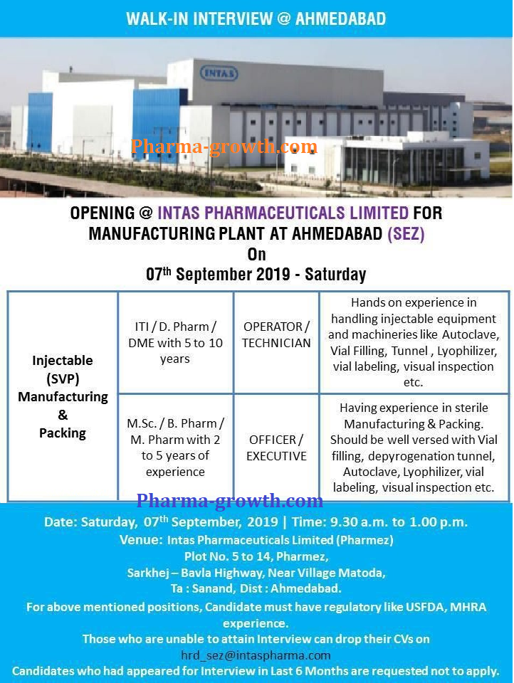 Intas Pharmaceuticals Ltd. - Walk-In Interview for Multiple Positions on 7th Sept, 2019
