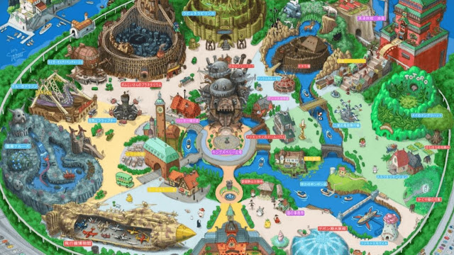 A map of a magical Studio Ghibli theme park with buildings, statues and man-made river