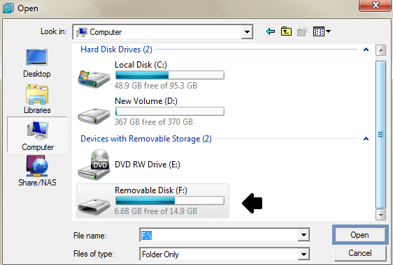 Choose external hard disk