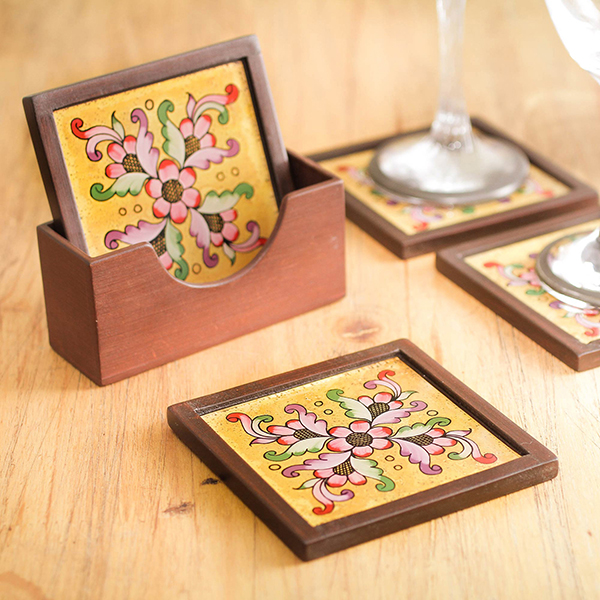 Peruvian, hand-painted glass coasters by artisan Marlene Guisgueta