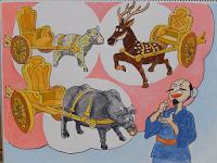 Maka dipikirkannya suatu akal: ia akan merayu mereka dengan berbagai mainan yang akan mereka sukaï — kereta-keretaan yang ditarik kambing, rusa, dan lembu.