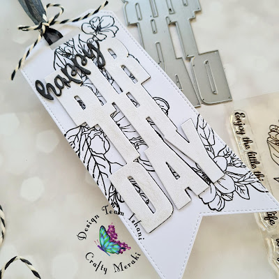 Birthday Tag, Black and white tag, Quick and simple floral tag, Craft meraki Birthday tag, Quillish