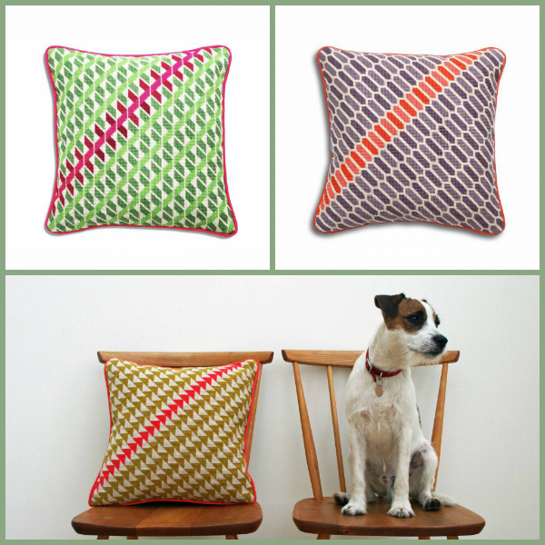 Three needlepoint cushions with repeat patterns in yellow, green and purple