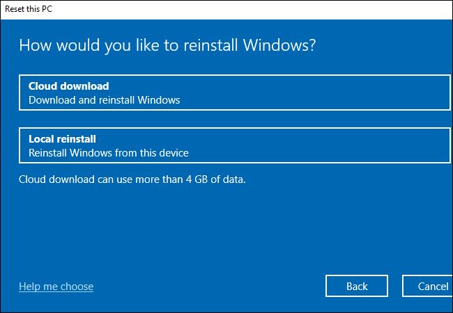 """اختيار ما إذا كنت تريد استخدام ميزات """"التنزيل السحابي"""" أو """"إعادة التثبيت المحلي"""" لنظام التشغيل Windows 10."""