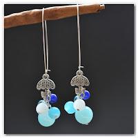 boucles d'oreilles pendantes parapluie bleues