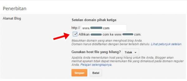 pengalihan domain untuk mengganti domain blogspot
