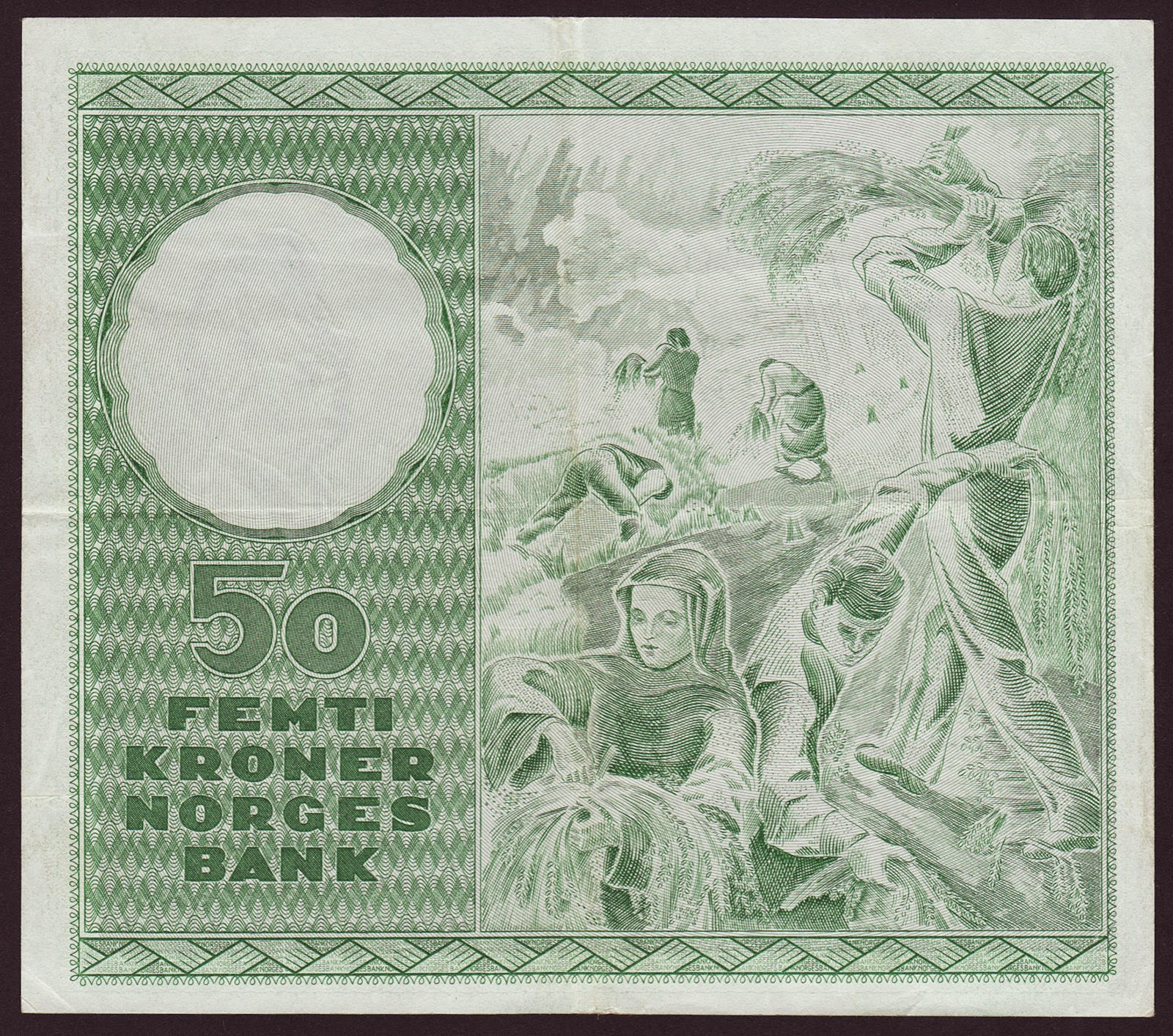 Norway Banknotes 50 Kroner note 1960 Harvesting scene after a painting by Hugo Louis Mohr