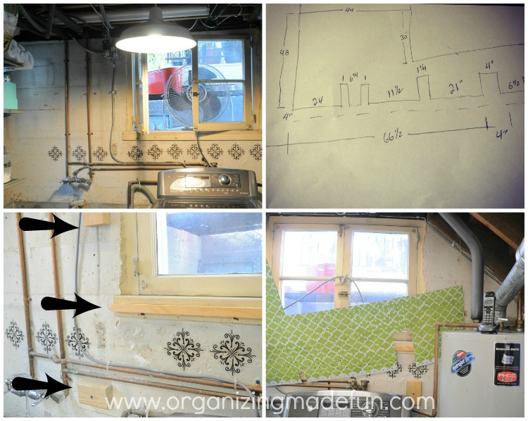 How to put pegboard on a block wall to cover up ugly pipes - Things to put on a wall ...