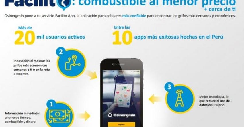 FACILITO: Aplicativo ayuda a conductores de Lima a encontrar combustible a mejores precios - OSINERGMIN - www.osinergmin.gob.pe
