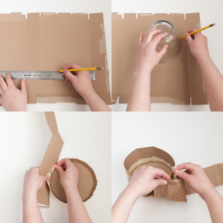 cereal box cardboard ruler hat tape step by step how to