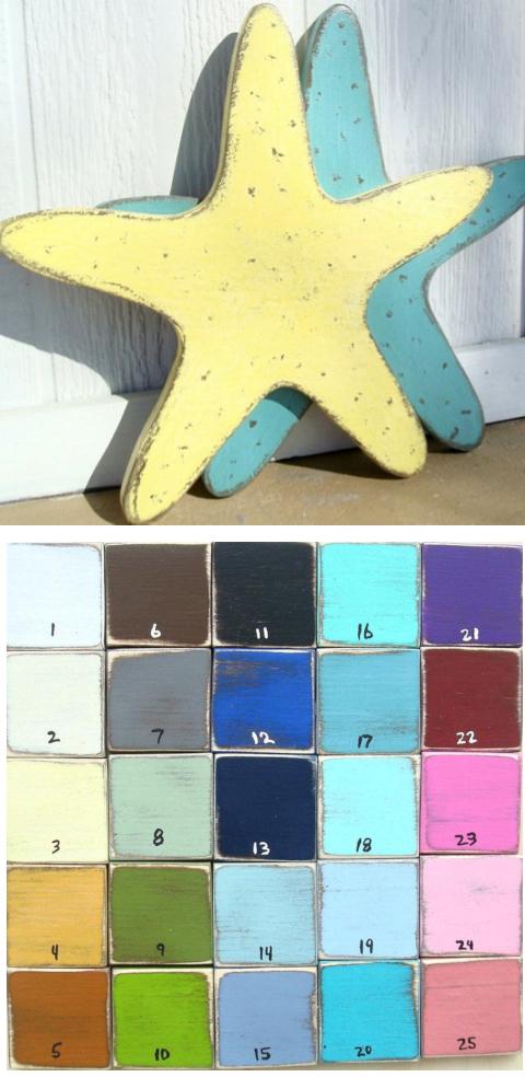 Painted Wood Starfish Decor