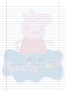 Folha Papel Pautado Peppa Pig PDF para imprimir na folha A4