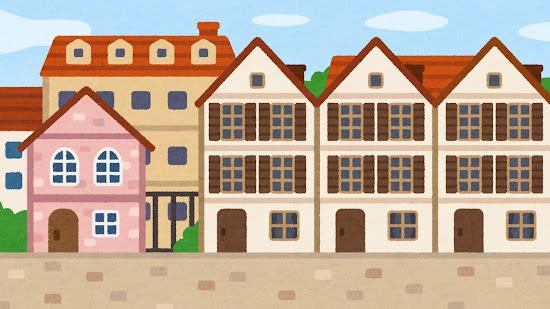西洋家屋のイラスト(背景素材)