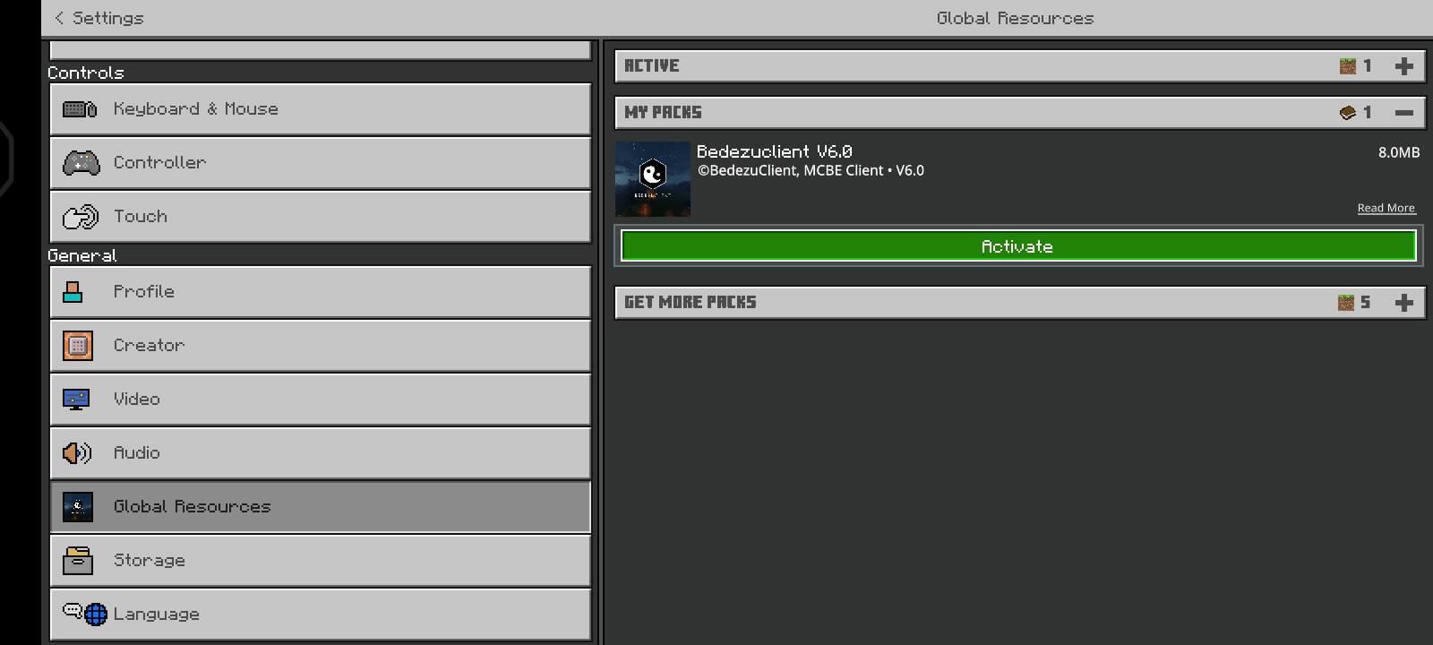 Mengaktifkan resource pack atau shader di MC Pocket Edition