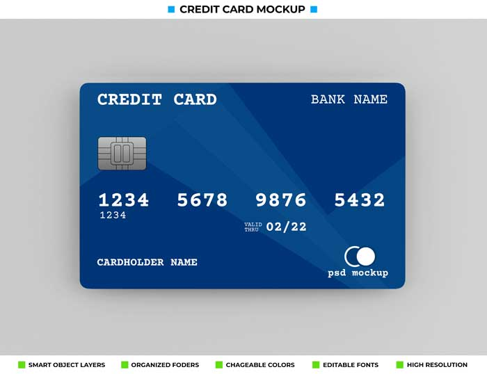 Realistic bank Credit Card Mockup