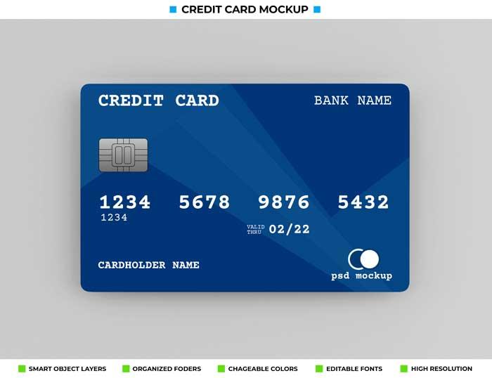 Realistic bank Credit Card Mockup