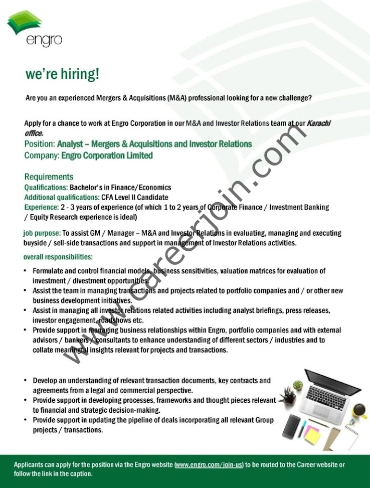 Latest Jobs in Engro Corporation Limited 2021- Online Application Form