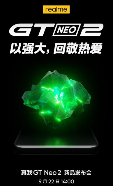 من المقرر إطلاق هاتف Realme GT Neo2 في 22 سبتمبر