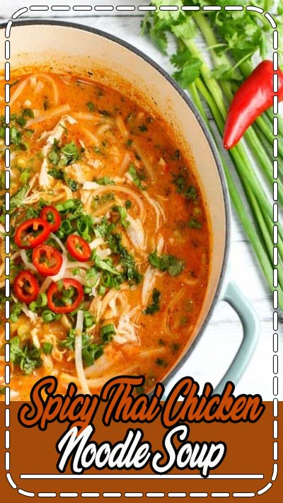 Skip the takeout! This Thai Chicken Noodle Soup is easy to make at home with ingredients you can find in your local supermarket. If you love Thai food, you need to try this recipe!