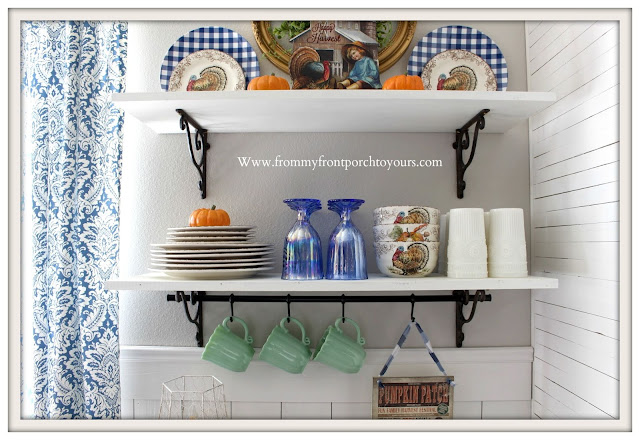Fall Breakfast Nook Decor-Vignette-Farmhouse-Cottage-Pioneer Woman-Timeless Beauty-Jadeite-From My Front Porch To Yours