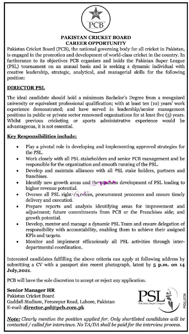 Latest Jobs in Pakistan Cricket Board PCB 2021- Online Apply