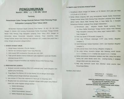 Pemkab Lampung Timur Buka Rekrutmen Tenaga Kontrak Pol PP