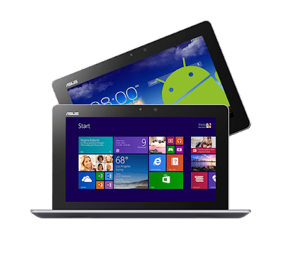 Asus Transformer Book Trio Specifications - LAUNCH Announced 2013, September Also Known As  Asus Transformer Book Trio E8300  This is not a GSM device, it will not work on any GSM network worldwide. DISPLAY Type IPS LCD capacitive touchscreen, 16M colors Size 11.6 inches (~63.1% screen-to-body ratio) Resolution 1080 x 1920 pixels (~190 ppi pixel density) Multitouch Yes, up to 10 fingers BODY Dimensions 304.8 x 193 x 9.7 mm (12.00 x 7.60 x 0.38 in Weight - SIM No  - Optional Windows 8 PC Station with standard QWERTY keyboard and trackpad. PLATFORM OS Android OS, v4.2 (Jelly Bean) Chipset Intel Atom MEMORY Card slot microSD, up to 64 GB (dedicated slot) Internal 16/32/64 GB, 2 GB RAM CAMERA Primary 5 MP, autofocus Secondary 1.2 MP, 720p Features Geo-tagging Video 1080p@30fps NETWORK Technology No cellular connectivity 2G bands N/A GPRS No EDGE No COMMS WLAN WLAN Wi-Fi 802.11 b/g/n, hotspot GPS No USB microUSB v2.0 Radio No Bluetooth v3.0 FEATURES Sensors Accelerometer, gyro, compass Messaging Email, Push Email, IM Browser HTML5 Java No SOUND Alert types Vibration; MP3, WAV ringtones Loudspeaker Yes 3.5mm jack Yes BATTERY  Non-removable Li-Po battery (19 Wh) Stand-by  Talk time  Music play  MISC Colors Black  - MP3/WAV/WMA/AAC player - MP4/H.264 player - Document viewer - Photo viewer/editor