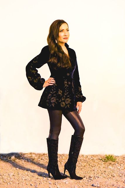Joanna Joy A Stylish Love Story petite fashion blogger California fashion blogger Embroidered sleeve sleeve details Spanx black faux leather leggings Donald J. Pliner black suede beaded embroidered stiletto boots Nanette Lepore blue velvet jacket
