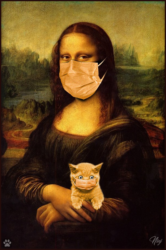 Photoshopped Cat GIF • Meanwhile in Paris, Mona Lisa and her kitty are wearing their COVID face masks in purrfect harmony
