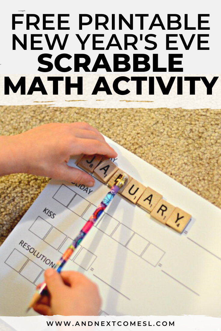 Free printable Scrabble math New Year's activity for kids