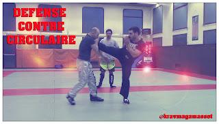 Défense contre coup de pied circulaire en self défense.