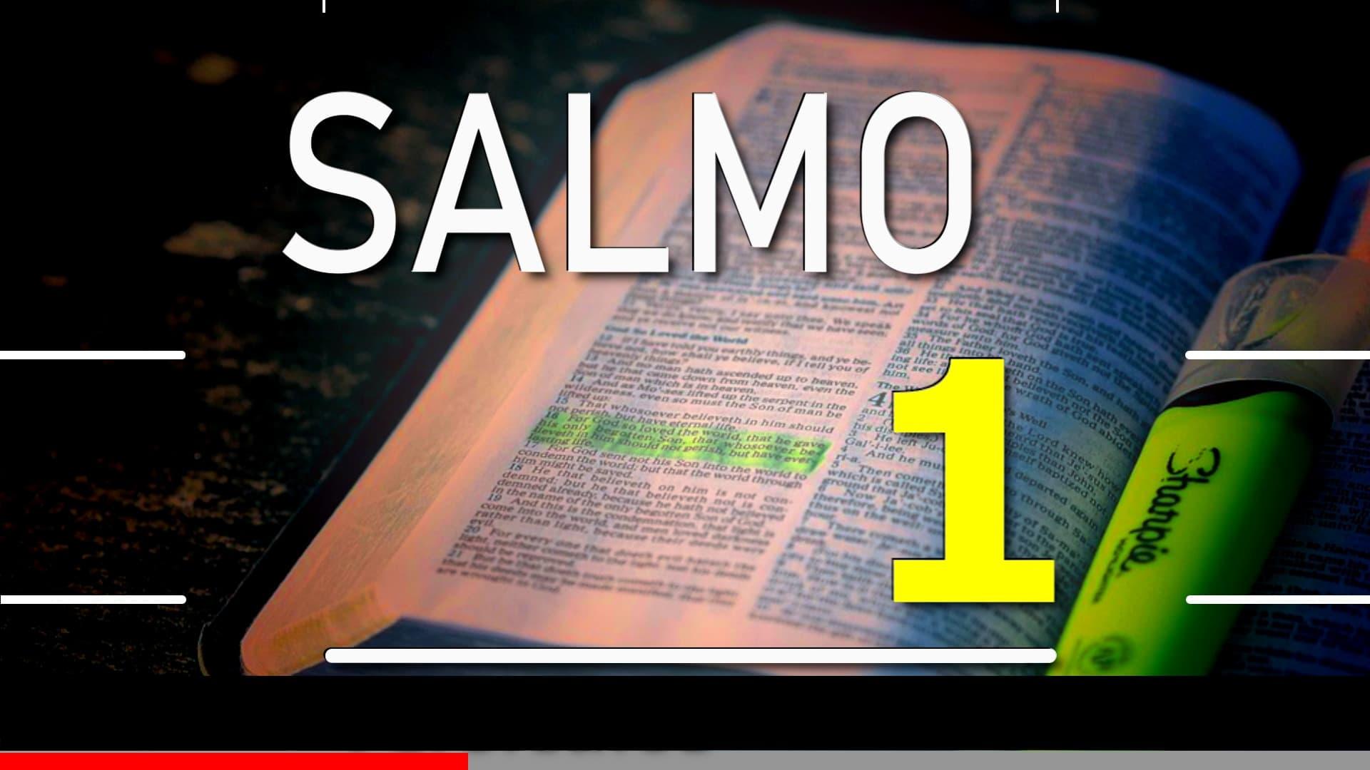 A imagem mostra uma bíblia de estudos aberta com a escrita. Salmo 1; Versículos 1 a 6.