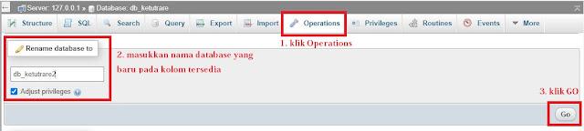 Cara Mudah Merubah Nama Database dan Menghapus Database di phpMyAdmin