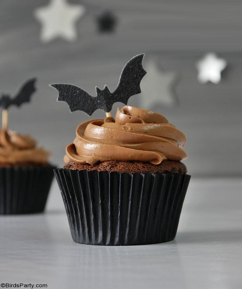 Cupcakes d'Halloween au Chocolat et Fantômes en Pate à Sucre - recette maison rapide et facile et également délicieuse à préparer avec les enfants!